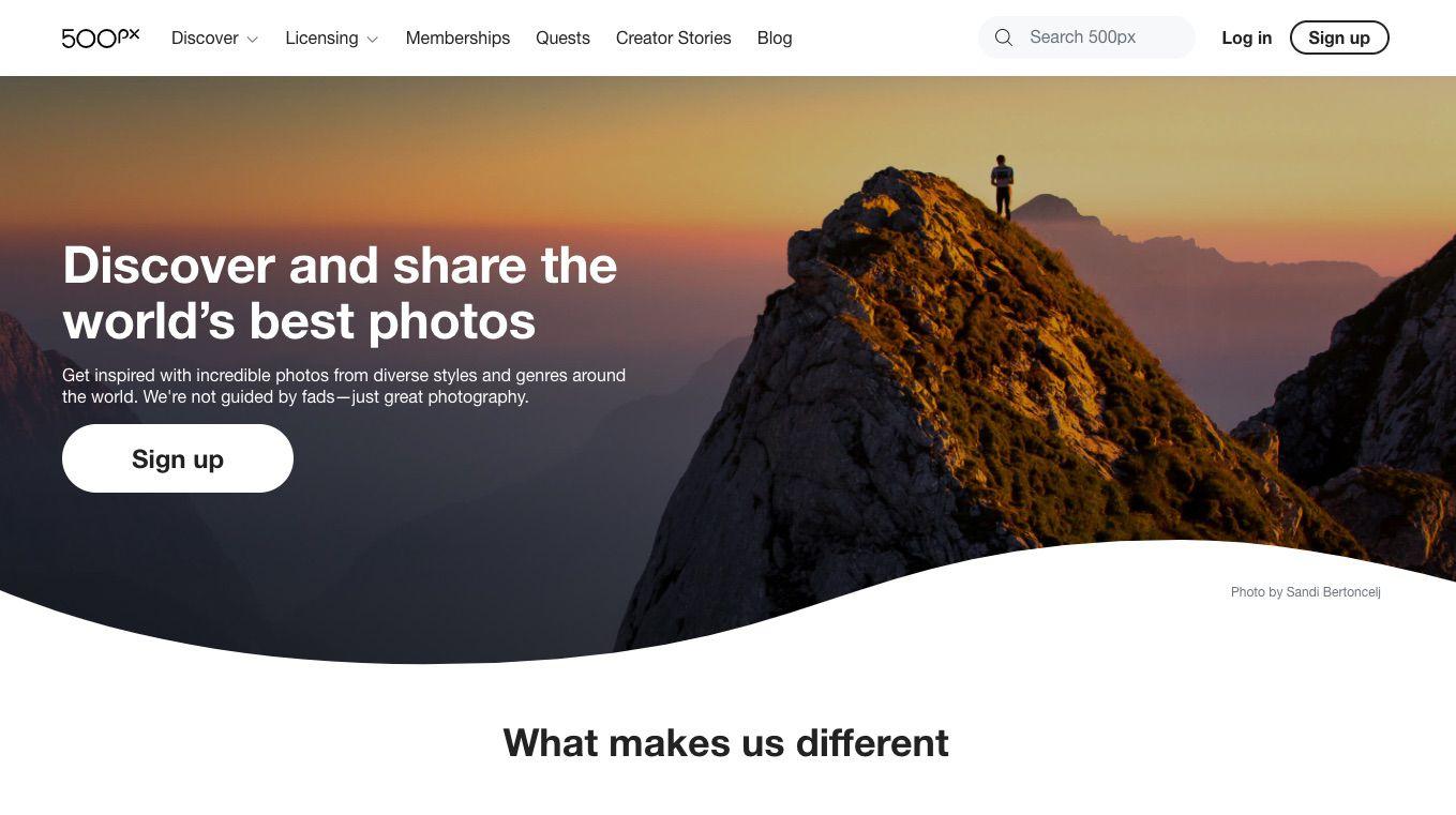 500px free photo hosting site