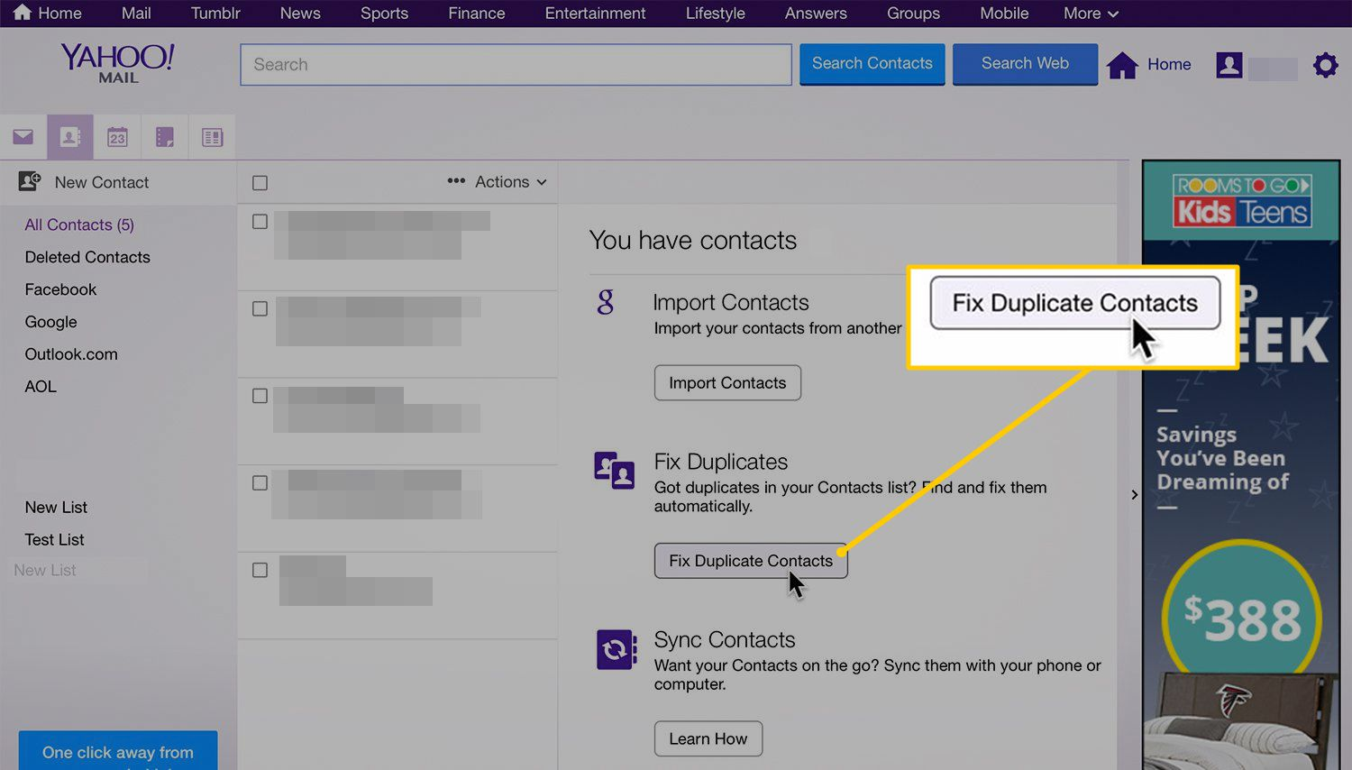 Fix Duplicate Contacts button on Yahoo!