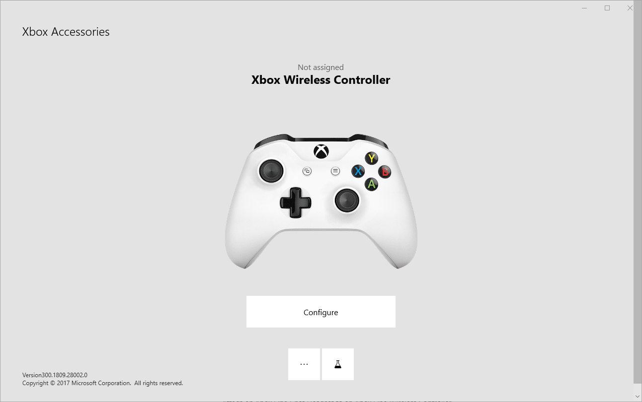 A screenshot of the Xbox Accessories app with an Xbox One controller connected.