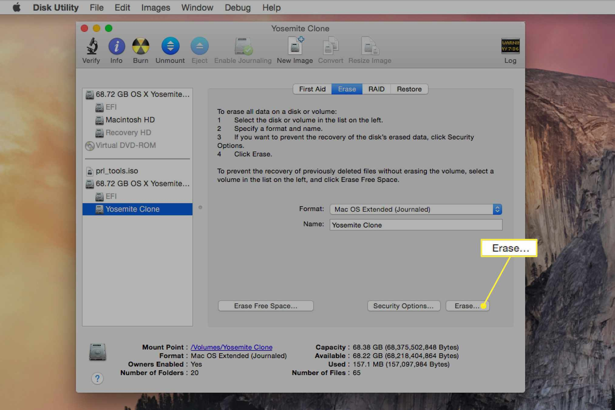 Disk Utility with Erase selected