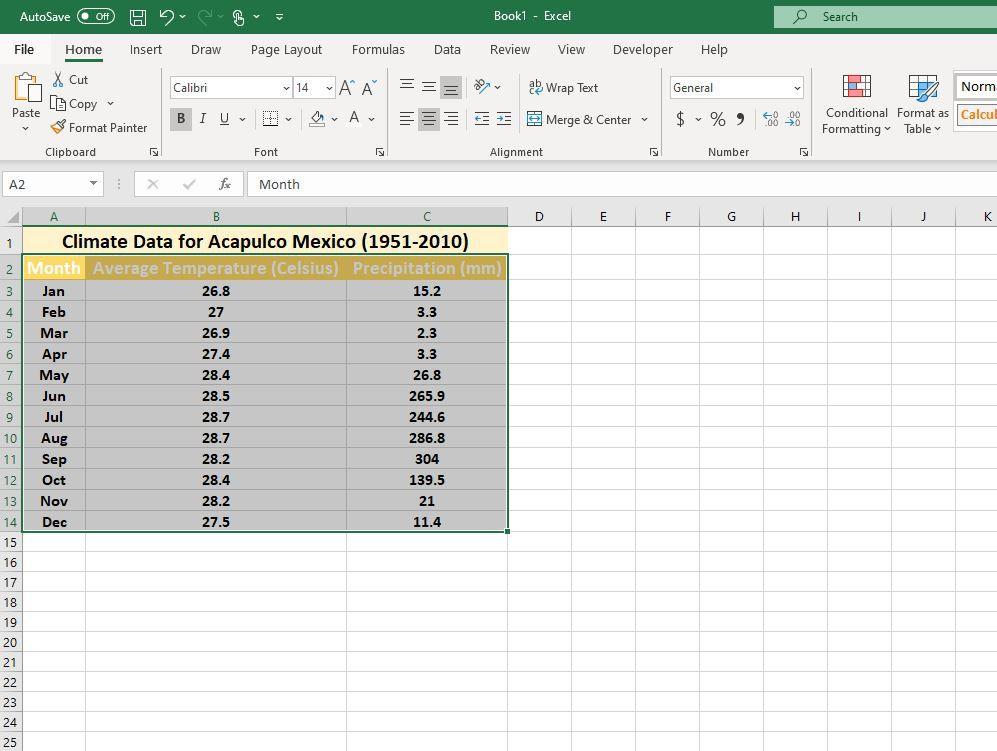 Data selected range in Excel
