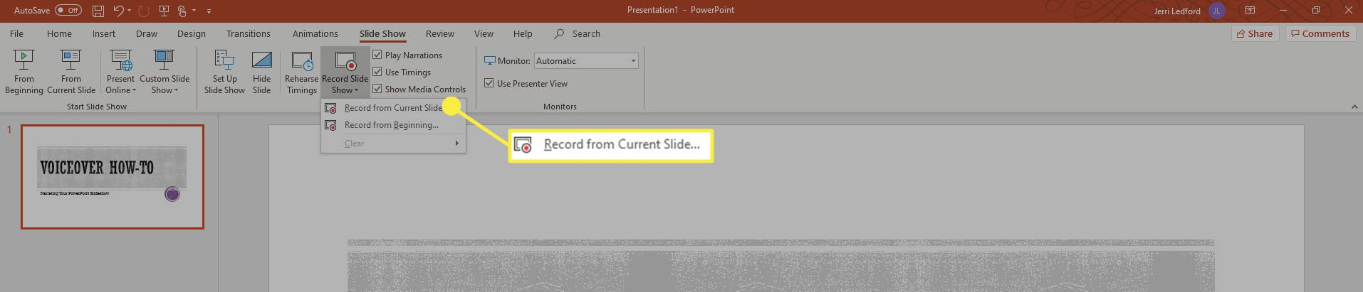 A screenshot showing where to find the recording controls to voiceover an entire presentation