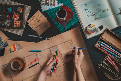 Draw your home: architect's workplace.