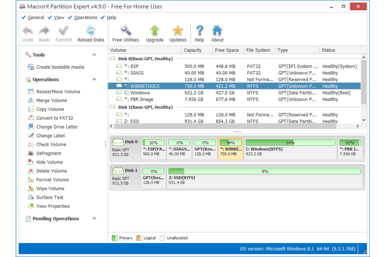Screenshot of Macrorit Partition Expert v4.9.0 in Windows 8