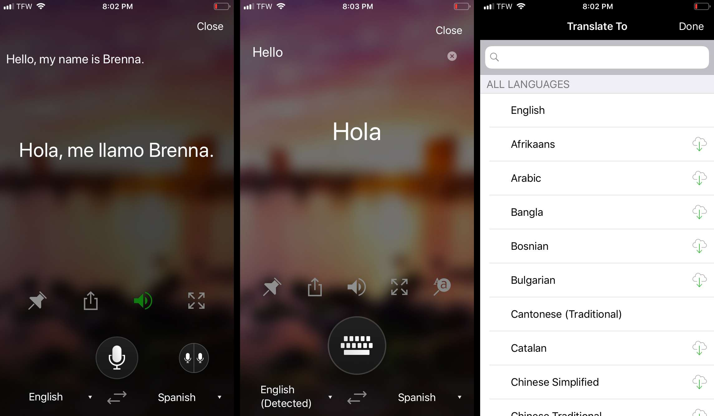 Using Microsoft translator to translate text and voice