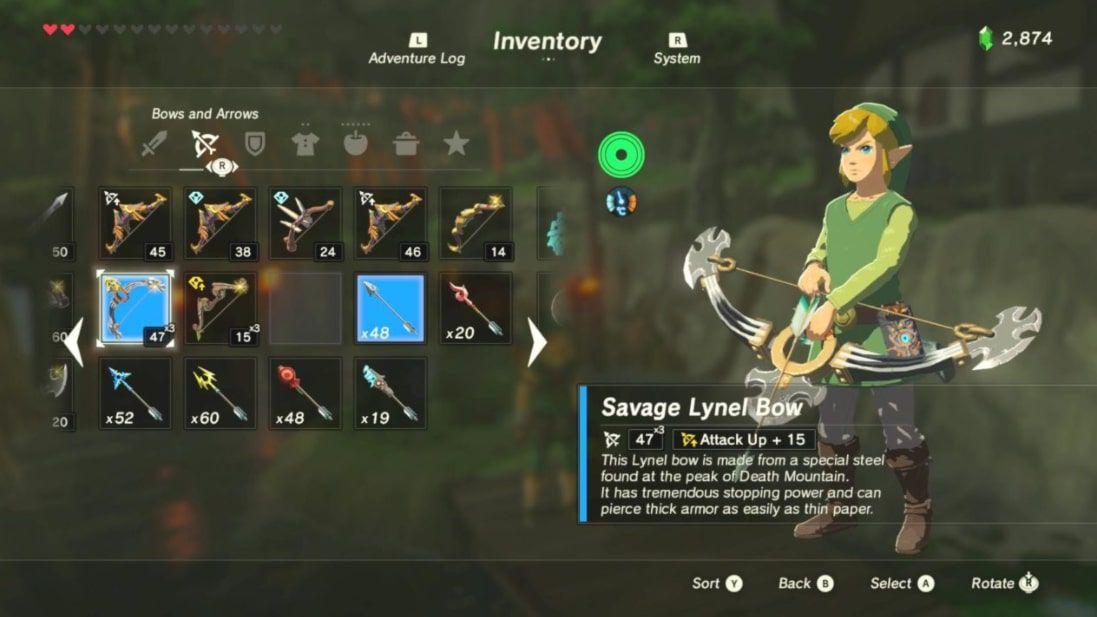Link wields the Savage Lynel Bow in Zelda BOTW