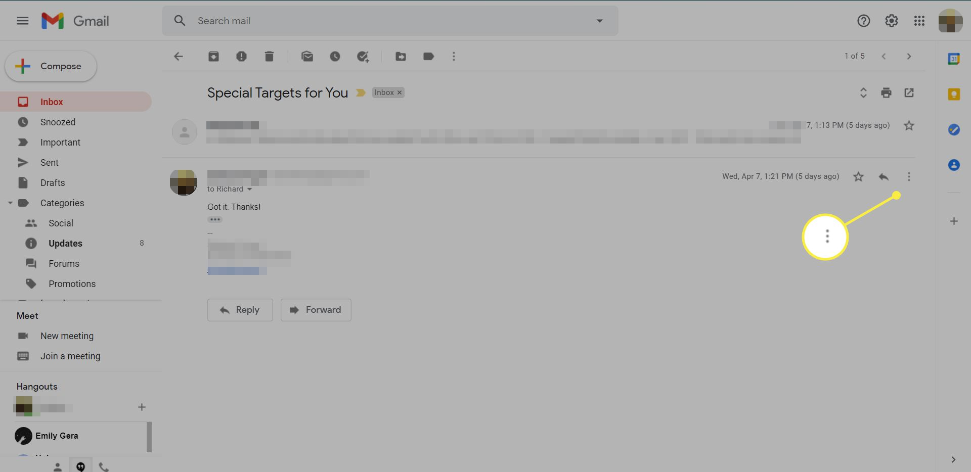 A Gmail message with the More menu icon highlighted