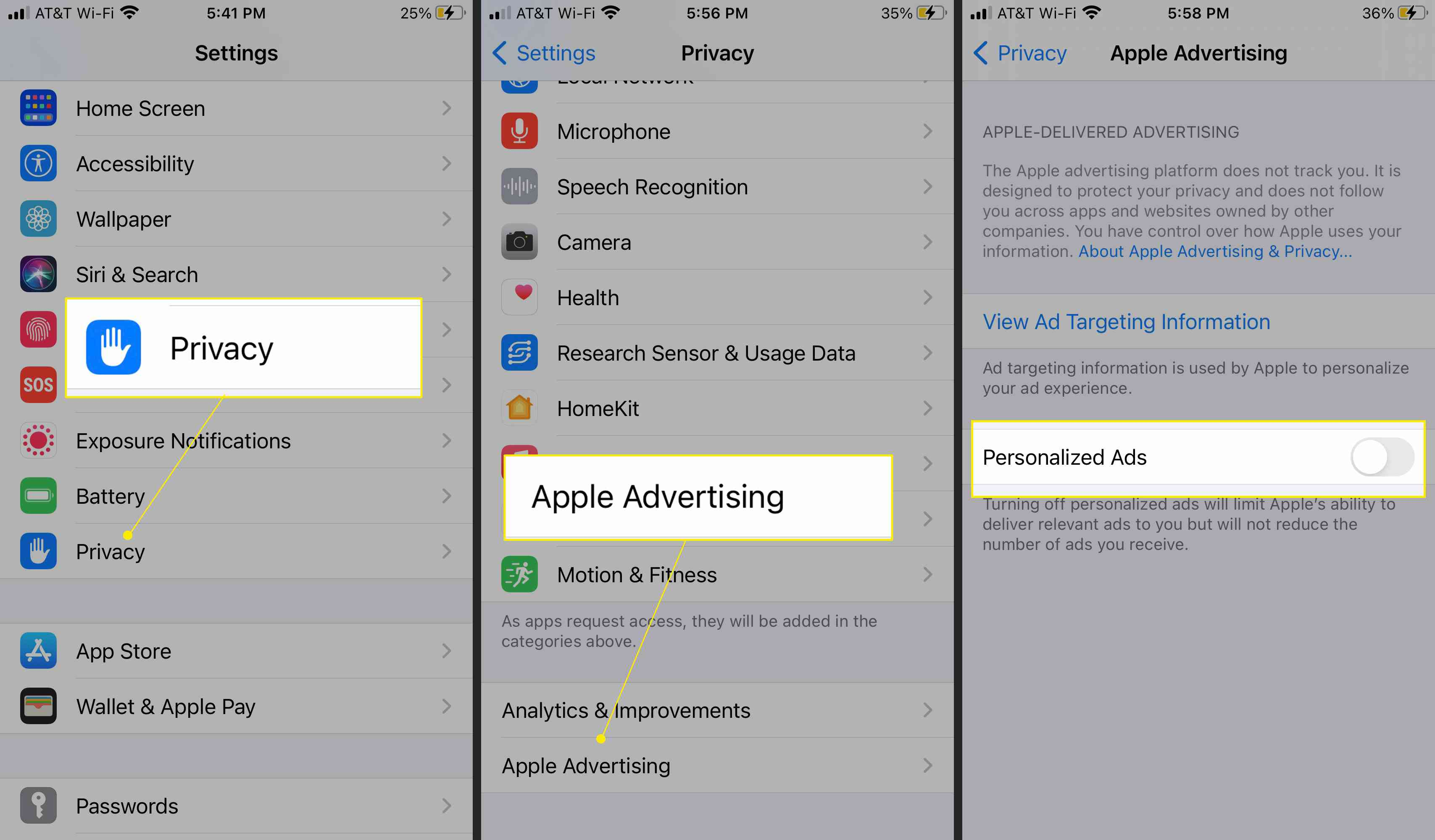 iPhone Privacy Settings highlighting