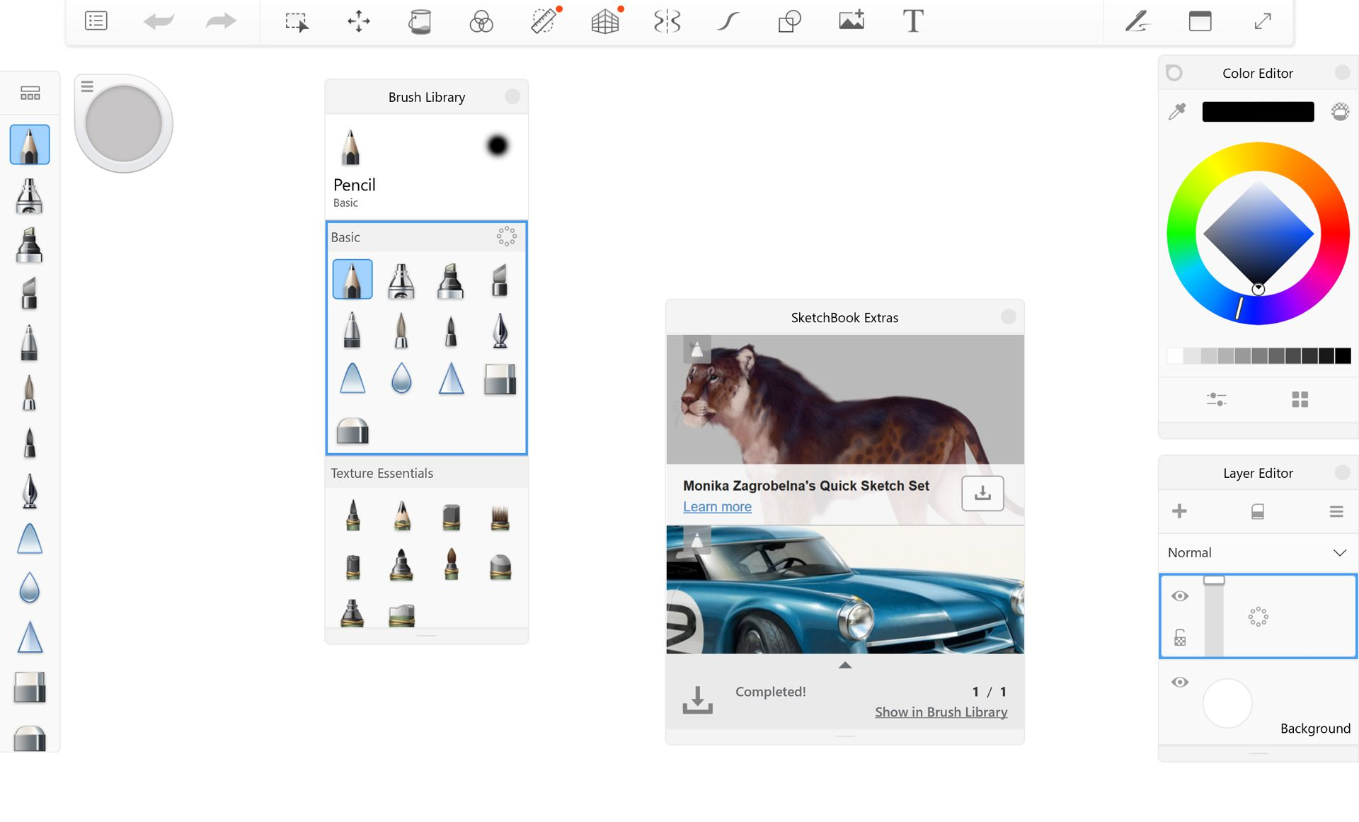 Autodesk Sketchbook drawing Windows app for Surface Pro.
