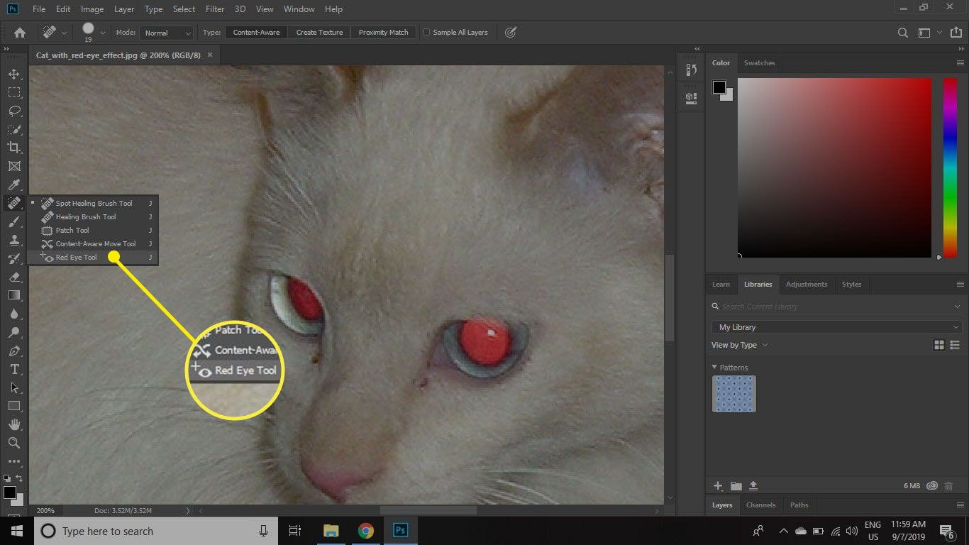 Click and hold the Healing Brush tool and select Red Eye Tool at the bottom of the list.