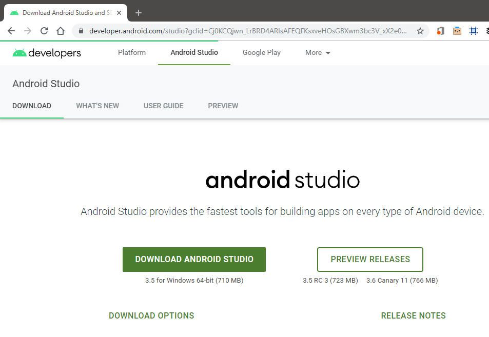 screenshot of Android Studio download page in Windows