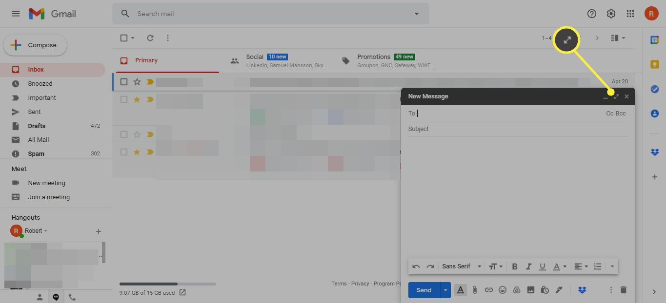 Expand window icon in Gmail message composition window