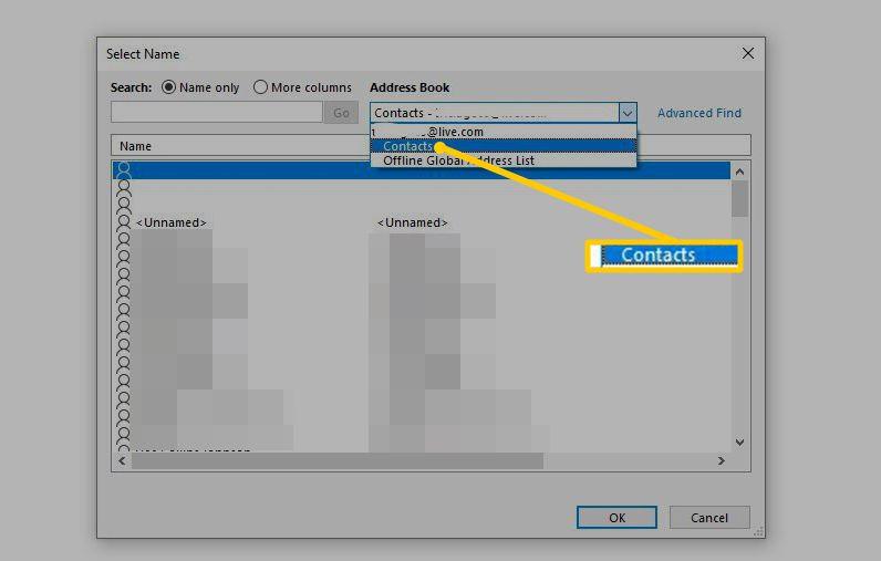 Contacts menu option