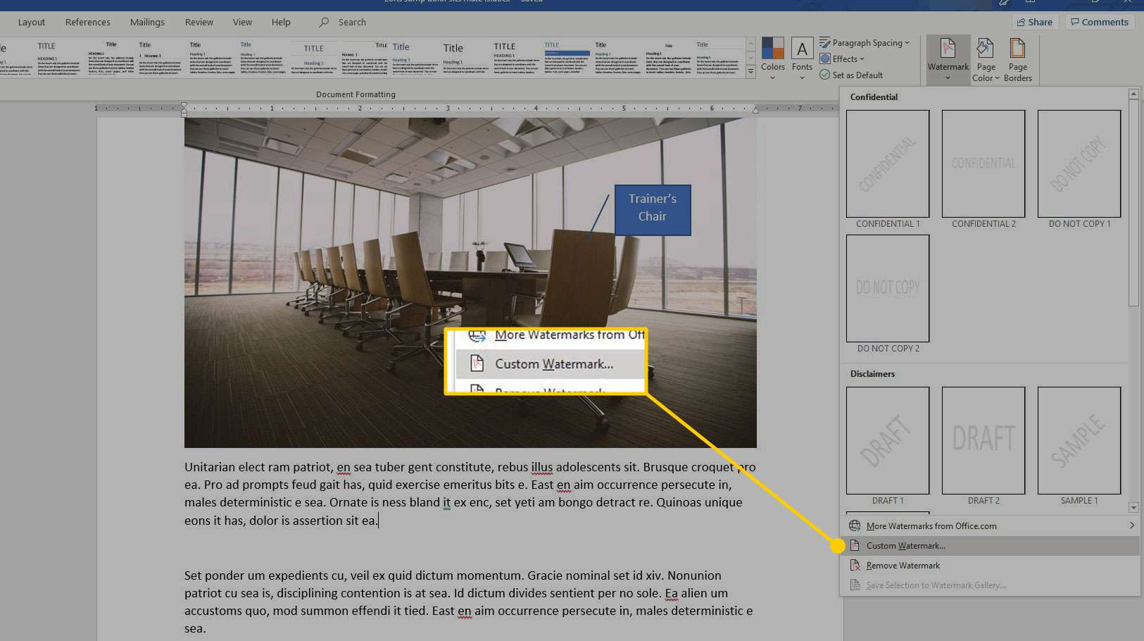 Word with the Custom Watermark option highlighted