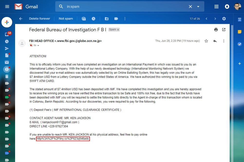 Screenshot of an email with a suspicious link containing random characters