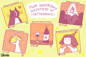 Fun weekday hashtags for Instagram illustration