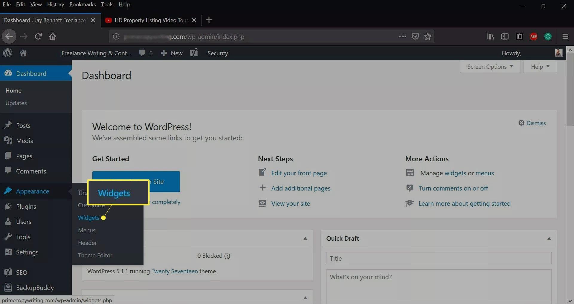 Widgets on the WordPress dashboard