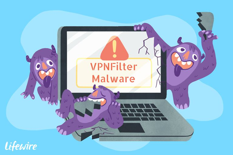 An illustration of the VPNFilter malware destroying a computer.