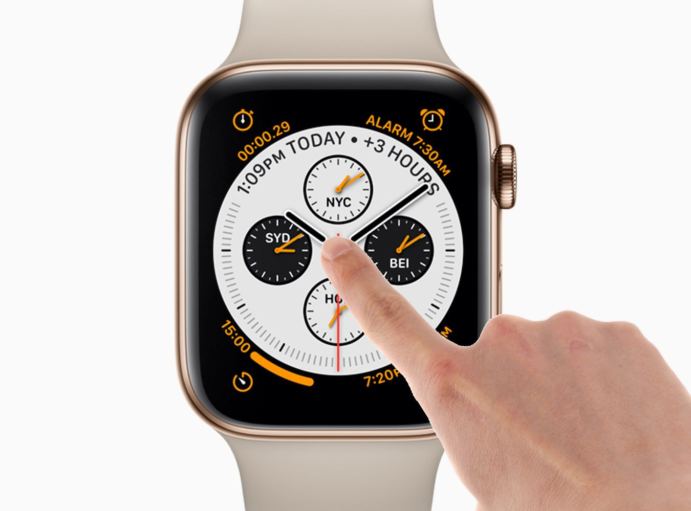 A finger gesturing on an Apple Watch's display
