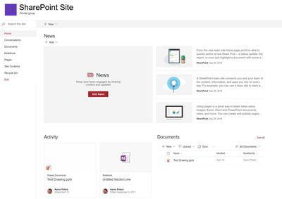 Home page of a SharePoint Site, including different widgets