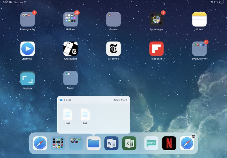 screenshot of iPad dock in iOS 12