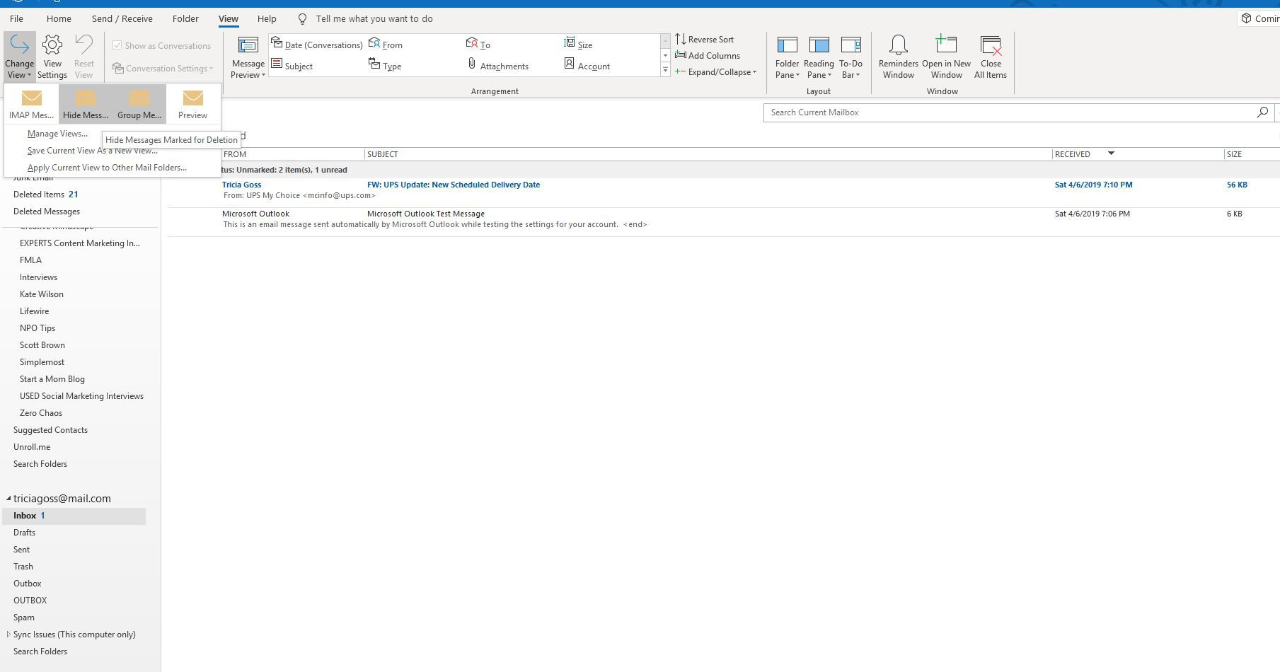 Hide Messages selection on Outlook