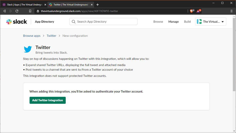 A screenshot of adding an app to Slack.