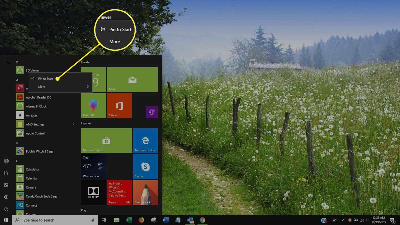 Screenshot of right-click menu in Start menu app