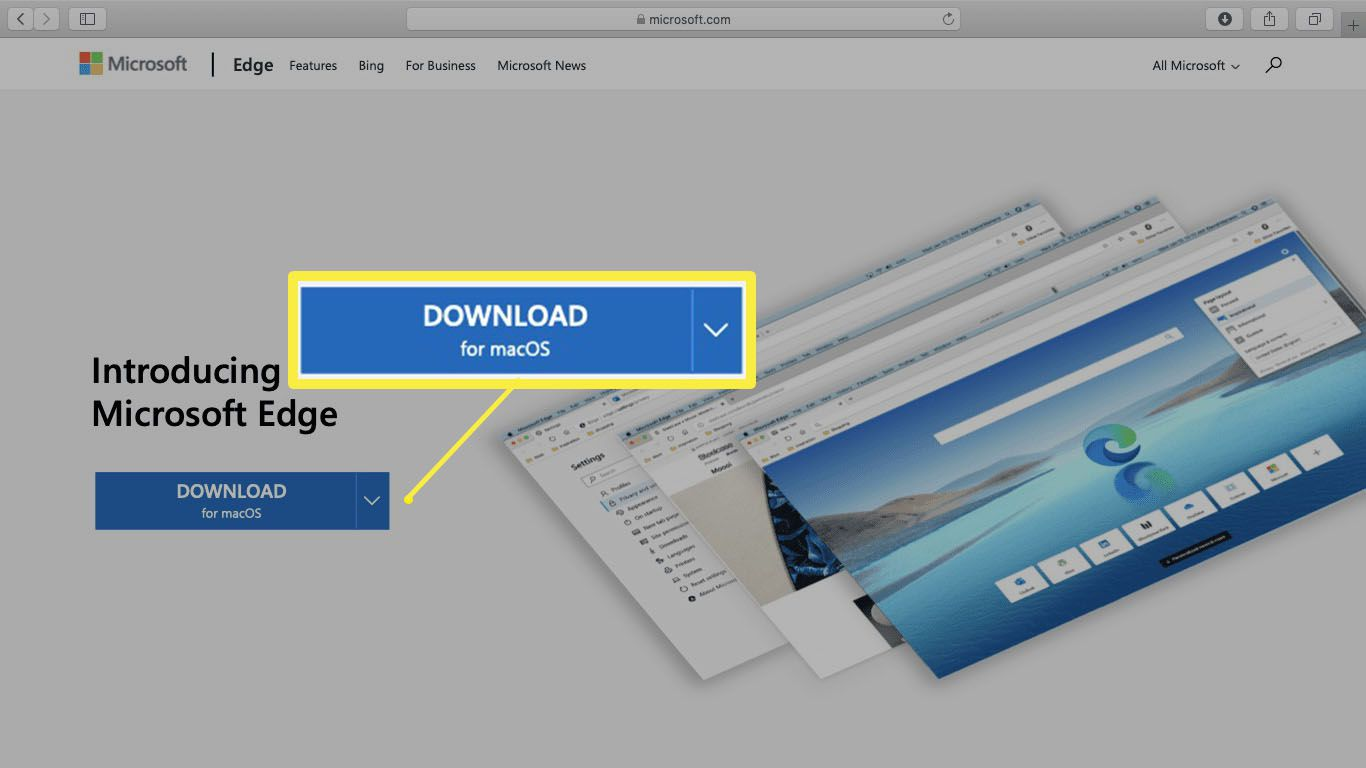 A screenshot of the Microsoft Edge download site in Safari.