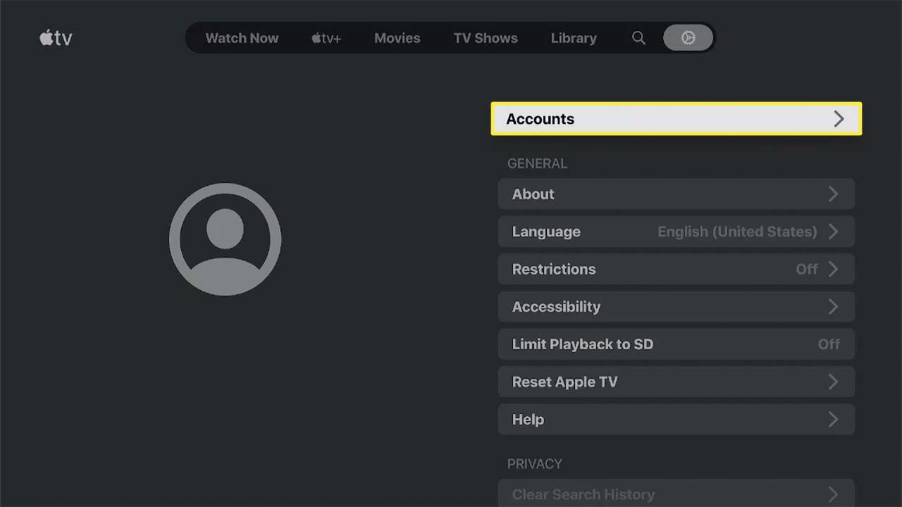 Accounts highlighted in the Apple TV app.