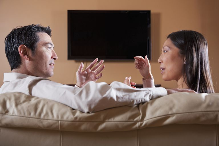 Couple Discussing TV
