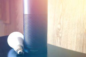 Amazon Echo device resting next to a smart light bulb