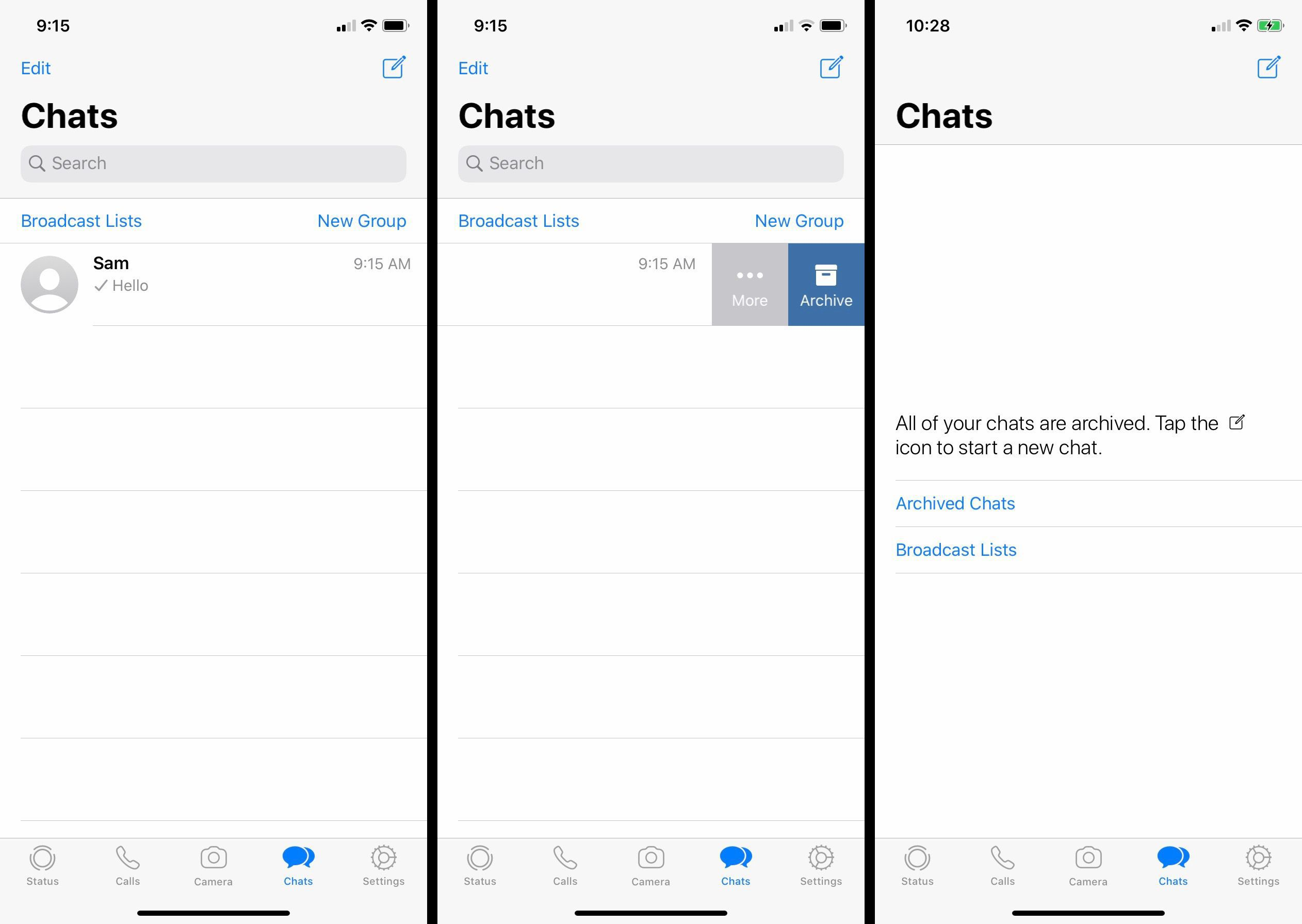 How to archive chats on WhatsApp.
