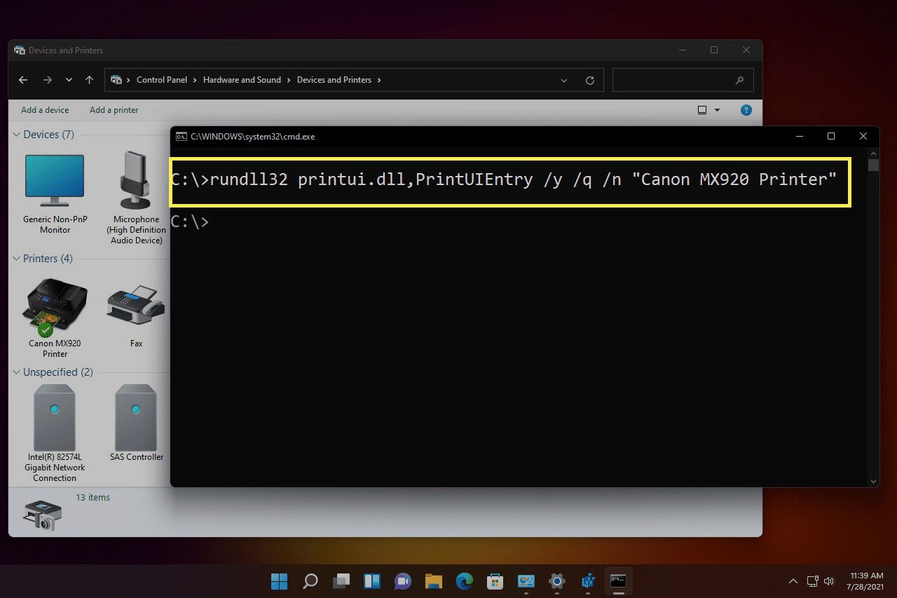 rundll32 printui default printer command