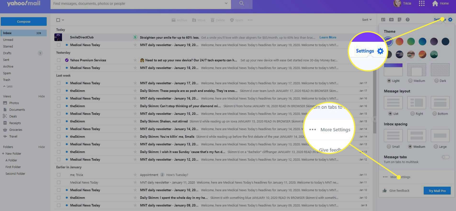 Settings > More Settings in Yahoo Mail