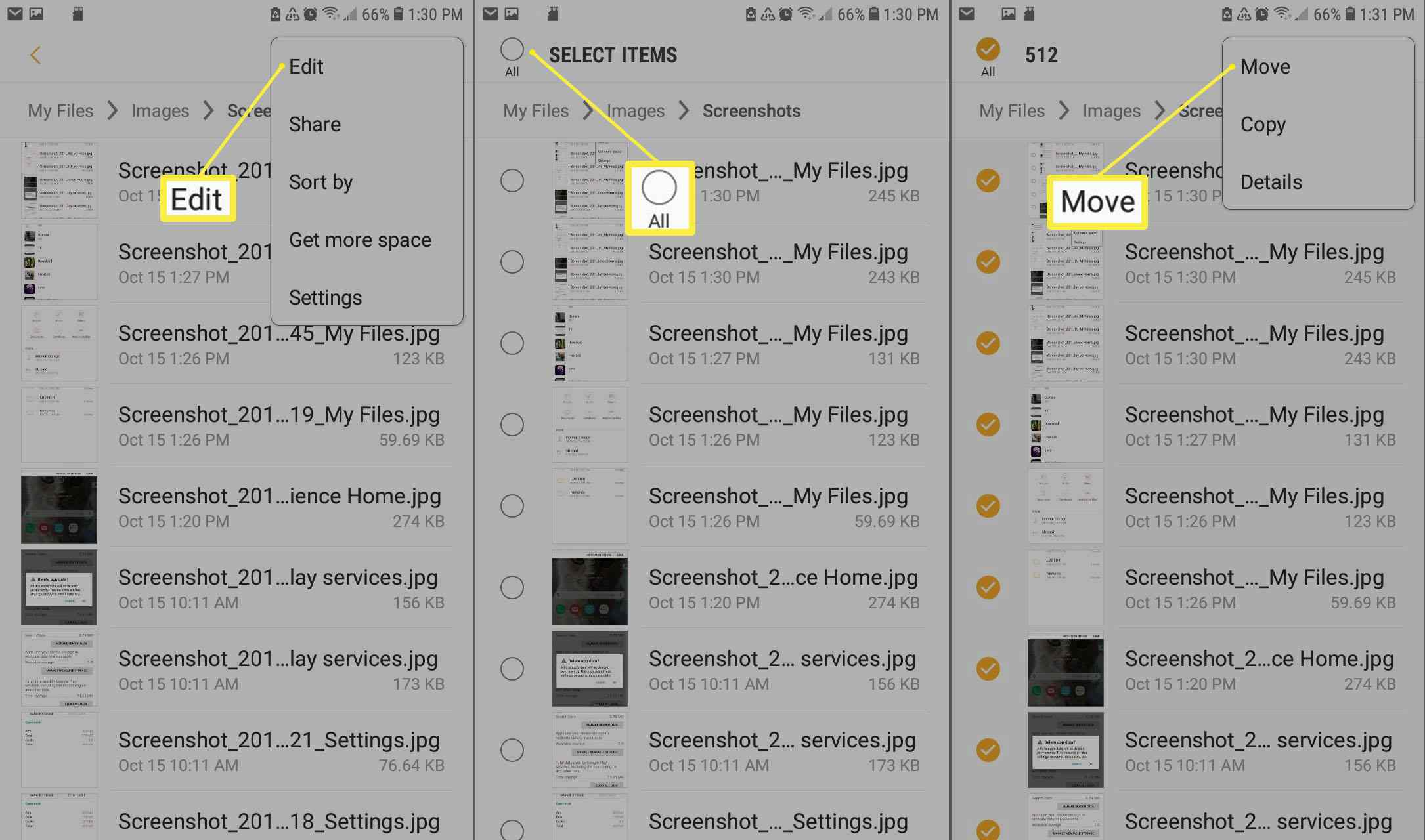 Select the files you wish to transfer in the My Files app.