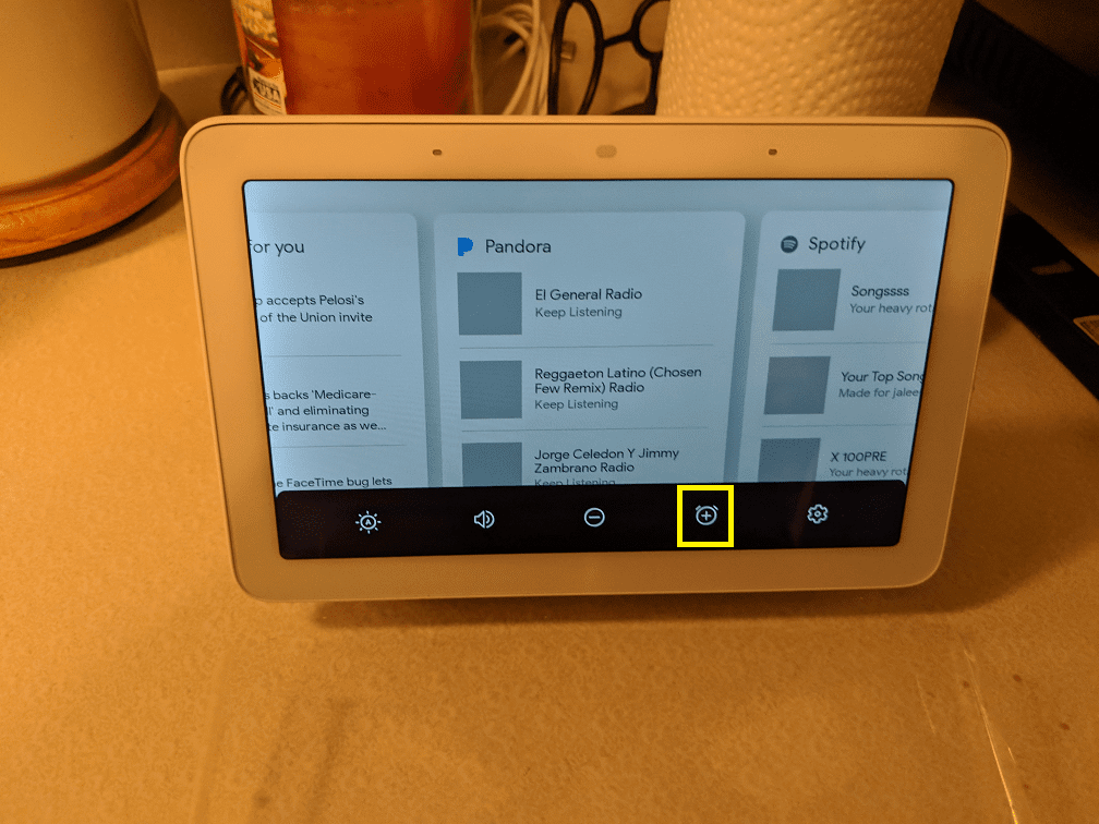 How to access Alarms on Google Home Hub.