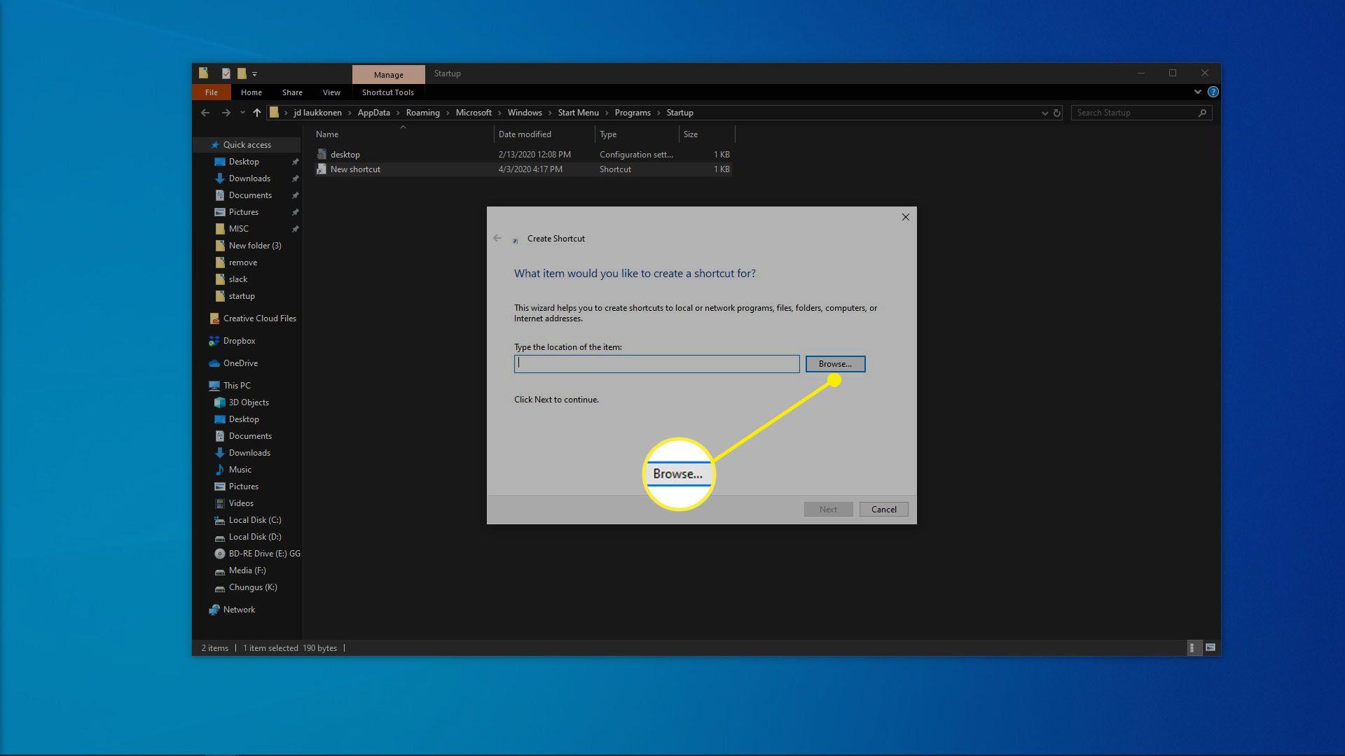 A screenshot of creating a shortcut in Windows 10.