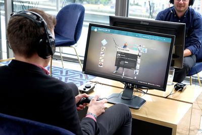 Man streaming gameplay from his PlayStation 4.