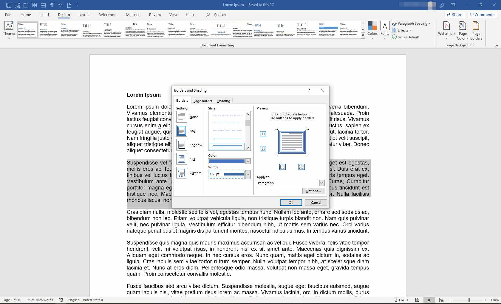 MS Word with Borders and Shading dialog box displayed