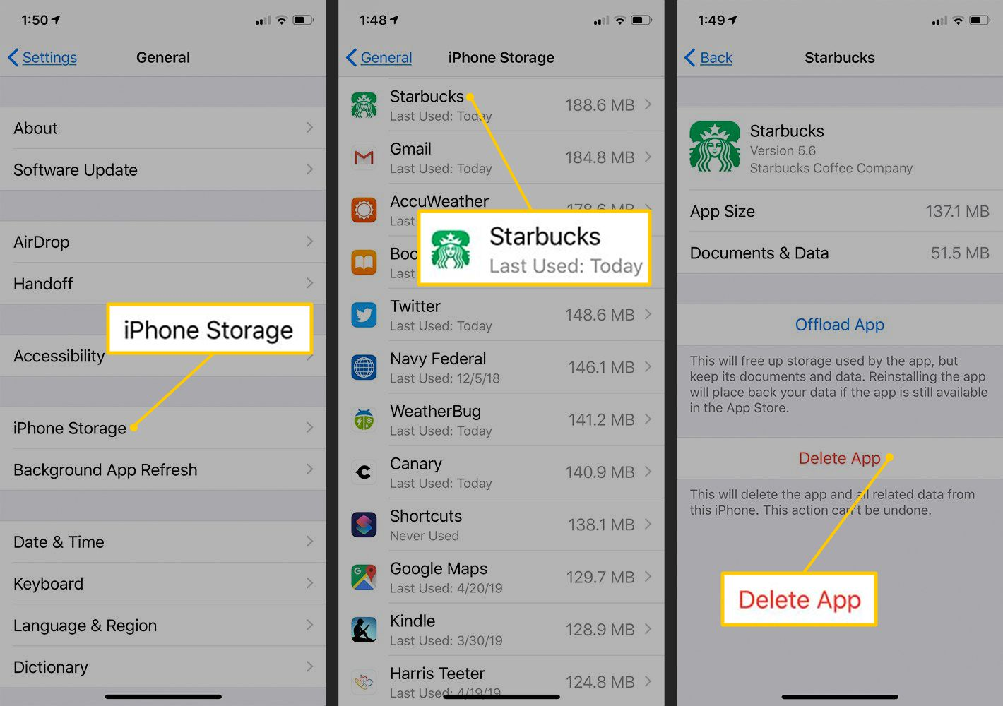 iPhone Storage, Starbucks App, Delete App buttons in iOS Settings