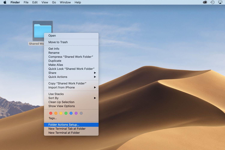 Mac contextual menu showing Folder Actions Setup option