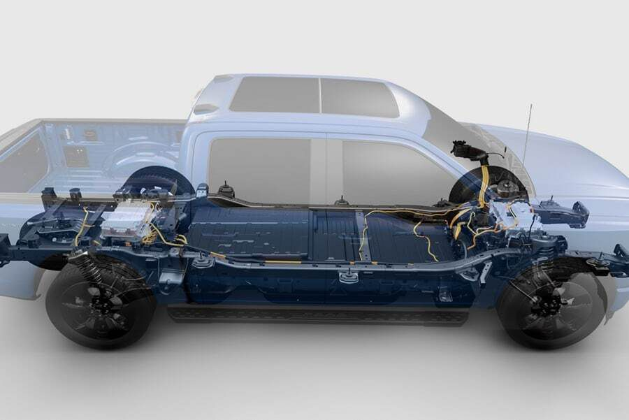 An internal view of an electronic truck.