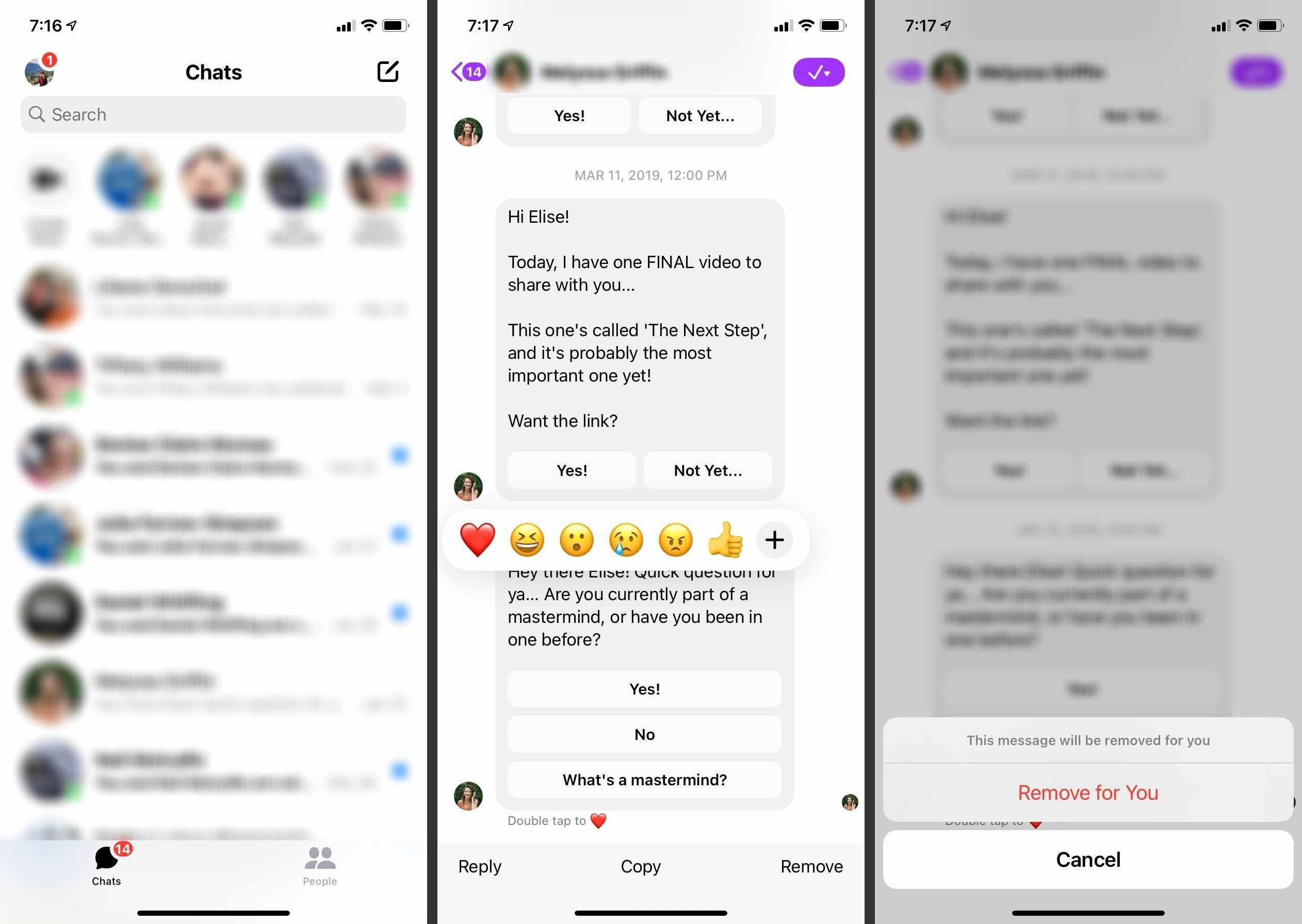 Steps to take to delete a message in the Facebook Messenger app.