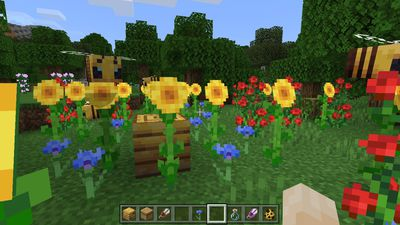 Bees pollenate a beehive in Minecraft.