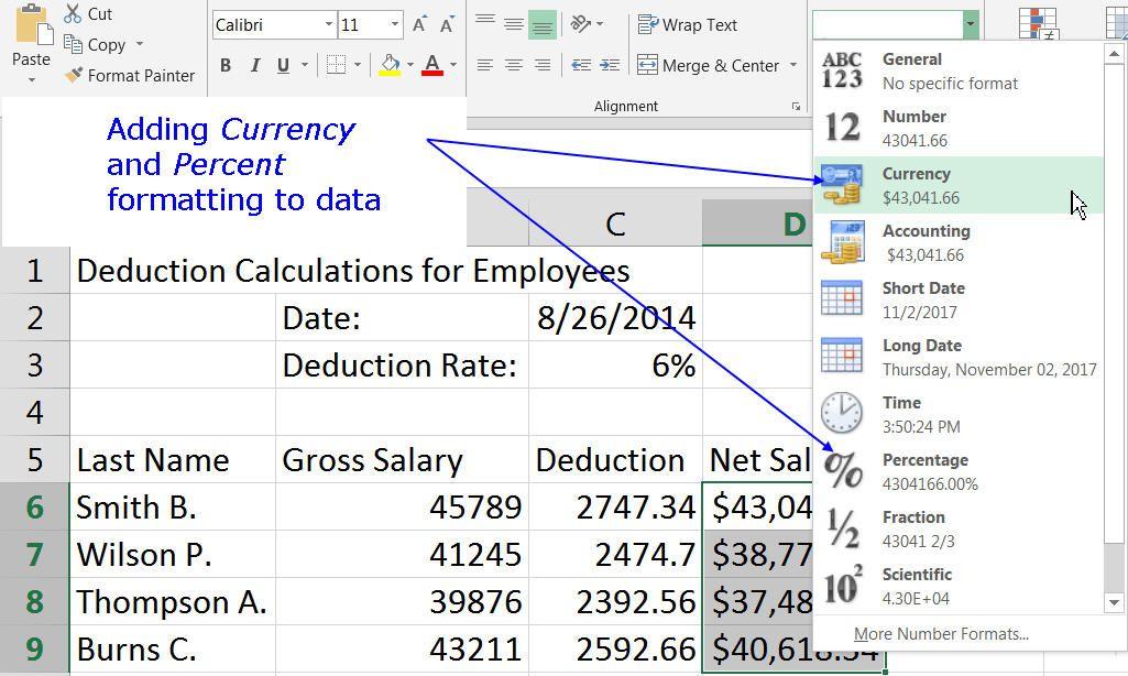 Adding number formatting to an Excel worksheet