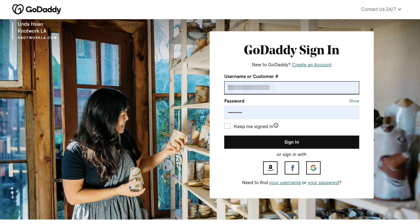 Enter your username or customer number and password, and then select Sign In.