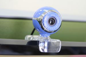 A webcam affixed to a monitor.