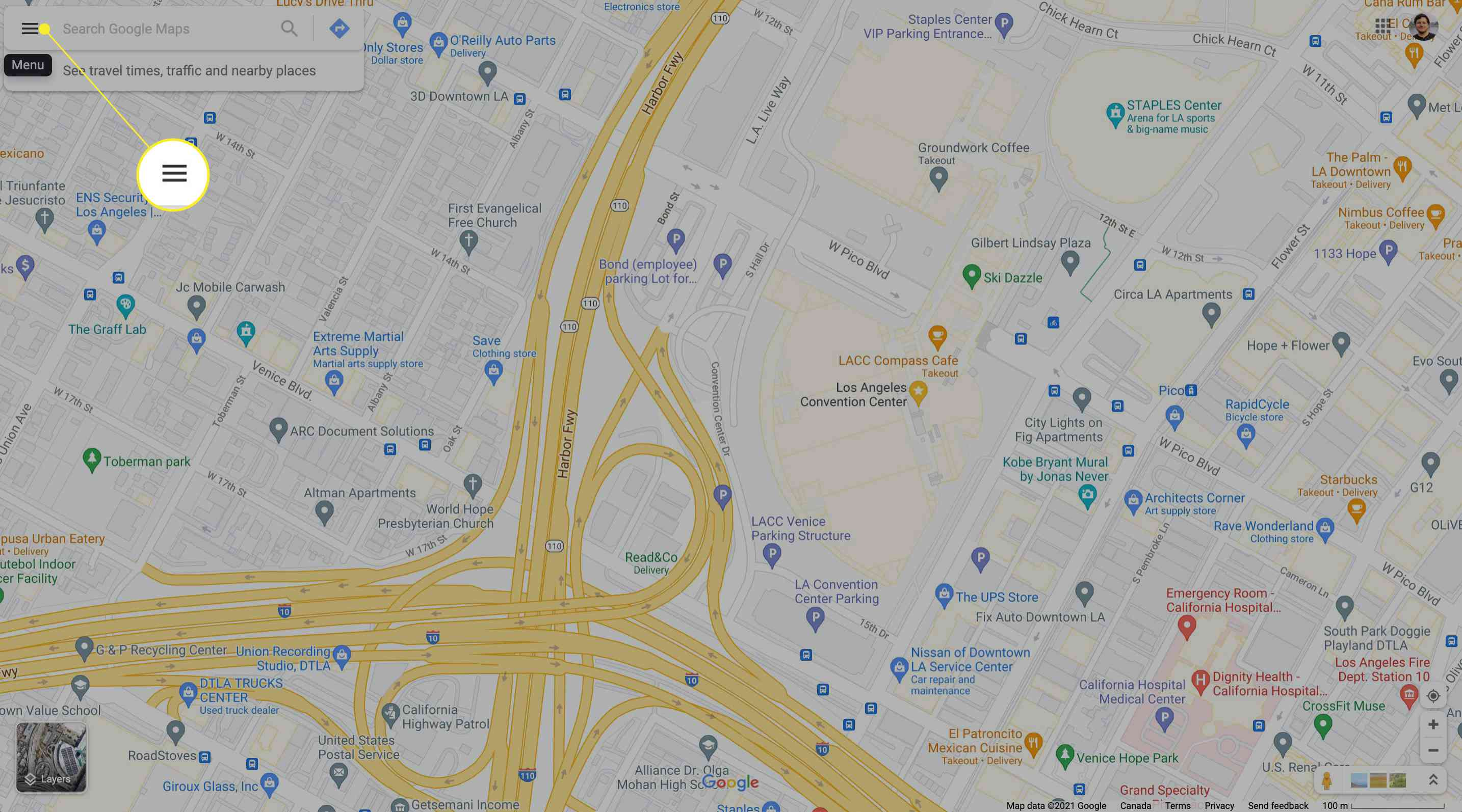 Accessing Google Maps Menu on desktop with Menu icon highlighted