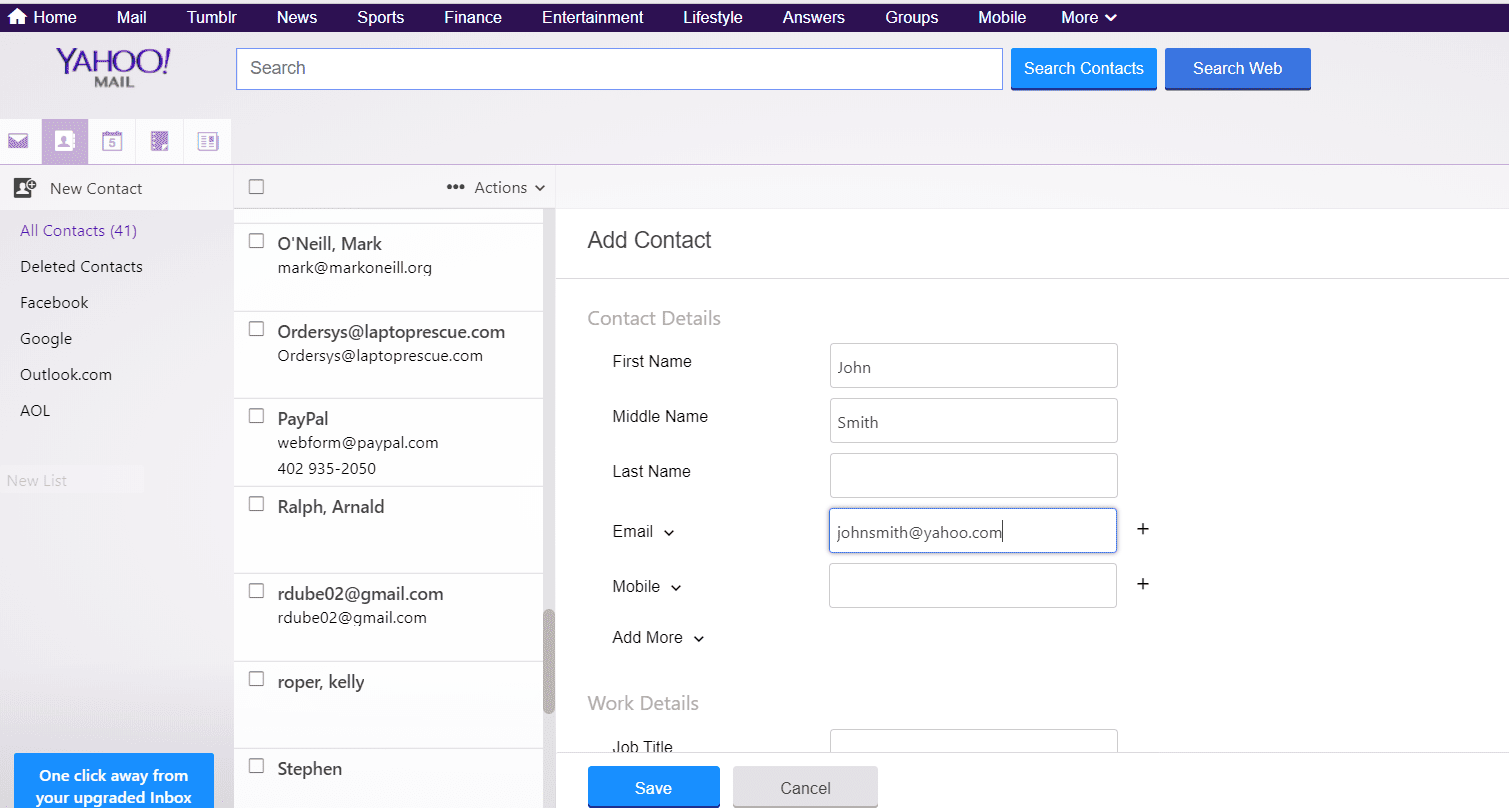 Screenshot of the Add Contact form in Yahoo Mail